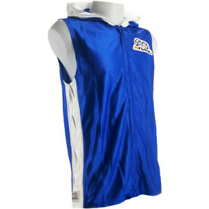 Rival Boxing Dazzle Traditional Sleeveless Ring Jacket with Hood - Blue/White