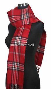 "Handmade 70""x11"" Classic TARTAN Plaids 100% 2-Ply Cashmere Scarf Muffler, Red"