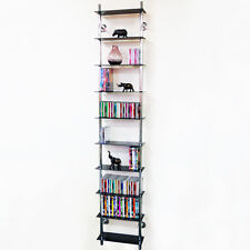 Wall Mounted 10 Tier Glass CD / DVD / Blu-ray Storage Shelf- Black CH1539-10TBLk