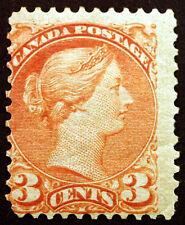 Canada #37 3c Orange Red 1873 Small Queen Victoria VF MLH Rare
