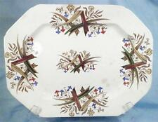 Antique Brown Transferware Serving Platter Palm Leaves & Flowers 1880s Aesthetic