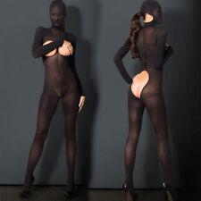 Sexy Women Body Stockings Mesh Sheer Black Open Butts Mask Full Length Bodysuit