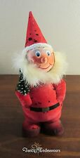 Flocked Germany Bobble Head Santa Claus Hand Painted Paper Candy Container