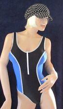 Lycra Glanz Body mit Zipper, Schwarz Blau glänzend, Gymwear, Bodywear, Gr. 38