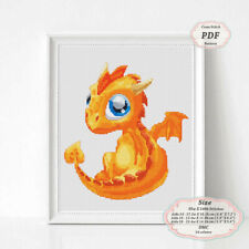 Yellow Dragon - Embroidery Cross stitch PDF Pattern - 107