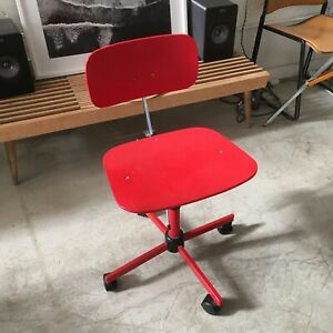 Rabami Stole Kevi Swivel Wooden Desk Chair Denmark - Cherry Red