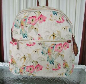Tommy Bahama Tropical Parrot Backpack Small Destin Cotton Linen NWT