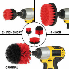 3 Power Scrubber Drill Brush Kit Clean Shower Tile /Grout Automotive Clean Red