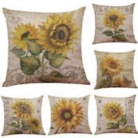 "18"" Sunflower Pattern Cotton Linen Throw Pillow Case Cushion Cover Home Decor"