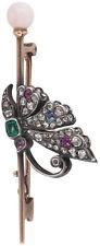 1.75ct Rose Cut Diamond Ruby Emerald Sapphire Pearl 925 Silver Brooch Pin