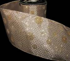 """10 Yds Taupe Beige Gold Silver Glitter Polka Dot Wired Ribbon 4""""W"""