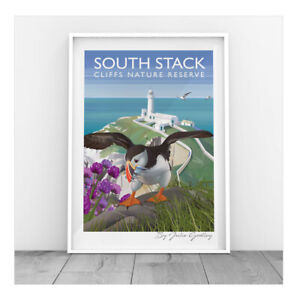 Original Print South Stack Light House Puffin Anglesey seaside Print Only
