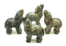CARVED - Gray DOLOMITE WOLF Spirit Animal Totem with Card - Healing Reiki Stone