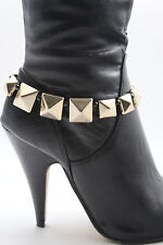 Women Western Fashion Gold Boot Bracelet Metal Chains Anklet Shoe Spikes Charms
