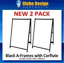 2 PACK of CORFLUTE INSERTED A Frame sign / Sandwich board / Aframe -Black steel