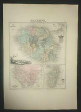 carte La Réunion Madagascar Gabon - 1890 - gravure ancienne - Atlas Vuillemin