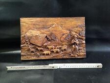 Tableau Effet bois sculpté  ski montagne souvenir Vintage Ancien Déco Chalet 1