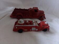 2 Vintage Red Cast Iron Fire Trucks Iron Art Nice Cond.