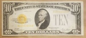 1928 $10 Gold Certificate Woods Mellon FR 2400 TEN DOLLARS VERY FINE Plus VF +