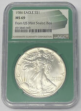1986 AMERICAN EAGLE 1 OUNCE SILVER DOLLAR NGC MS 69  FROM US MINT SEALED BOX