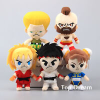 5pcs Japan Game Street Fighter Ryu Ken Chun Li Guile Zangief Plush Toy Doll 8''