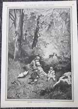 Waldidylle Rehwild Reh Mutter mit Kindern HOLZSTICH von 1885 Genrebild