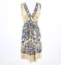 Navy blue beige geometric 100% silk KAY UNGER sleeveless A-line dress 6