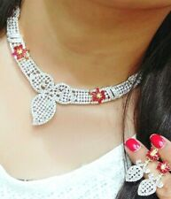 Silver Plated Red White Necklace Set Earring Perfect Combination of Lady Gift CZ
