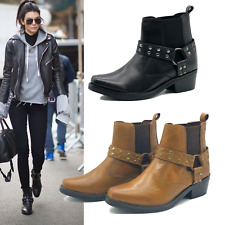 Womens Biker Leather Boots Ladies Ankle Studded Casual Chunky Flat Straps Zip UK