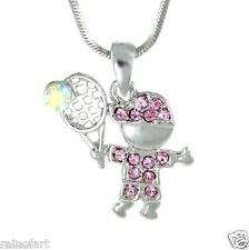 "TENNIS BOY W Swarovski Crystal Sport Charm Love  Pink 18"" Chain Necklace Gift"