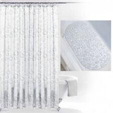 Bubbles Bath Mat & Silver Grey White Print Design Pattern Shower Curtain & Hooks