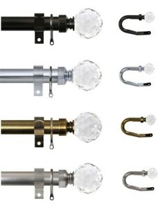 Extendable Metal 28mm Curtain Pole CRYSTAL Finials Brackets & Rings FREE POST
