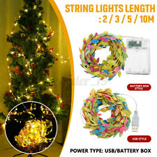 2/3/5/10M Leaves Garland LED String Fairy Lights Halloween Xmas Party Lamp Decor
