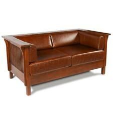 Mission Quarter Sawn Oak Love Seat with Brown Leather by Crafters and Weavers