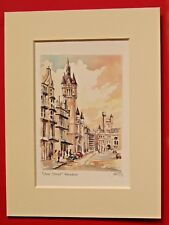 UNION STREET ABERDEEN CHARMING 8 X 6 MOUNTED WATER COLOUR PRINT ONE OF SERIES