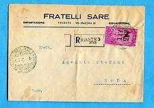 TRIESTE - P.AEREA RADIO £.50 ISOLATO ann.TRIESTE + etichetta RACC.  (269057)