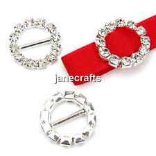 50pcs Round Crystal Rhinestone Diamante Buckle Ribbon Sliders Invitation Wedding