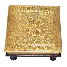 Brass Ftd Bajot Chowki Chaurang Patli Pooja Small Table Stool for Daily Prayers