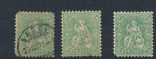 Switzerland stamp collection 1881 25c green granite paper x 3 stamps HPS