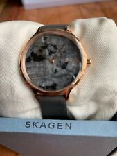 Skagen SKW2672 Women's Rose Gold Tone Marble Dial Grey Leather Band Watch NWT