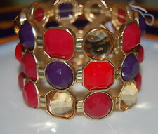 CHARTER CLUB LARGE BOLD RUNWAY ACRYLIC MULTICOLORED RED STONES STRETCH BRACELET