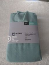 Solid Easy Care Pillowcase Set Bedding - Made By Design - Aqua Blue, King - New