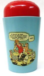 1940 LITTLE ORPHAN ANNIE light blue DANCING Ovaltine Shake Up Mug cup premium *
