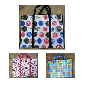 Large Zipped Shopping Laundry Storage Tote Reusable Bag Many Designs W60cm H45cm