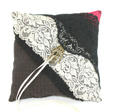 Steampunk Wedding Ring Pillow Chocolate Brown with Lace and Hand