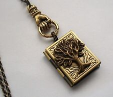 TREE OF LIFE Family PHOTO Pictures BOOK LOCKET W/ Hand Charm NECKLACE