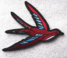 Swallow Swift Patch Embroidered Iron Sew On Rockabilly Badge Motif Bird Biker