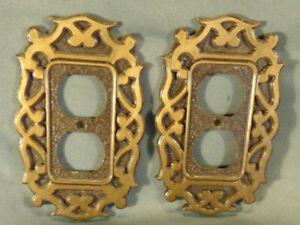 2 Vintage metal double electric plug plates design copper MCM art Geometric art