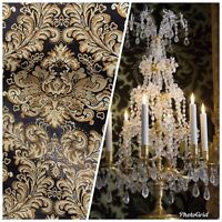 NEW Neoclassical Brocade Satin Jacquard Fabric- Black Gold- Upholstery Damask