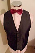 VENTUNO 21 Men's Black Self Striped Waistcoat Medium Classic Fit 100% Polyester